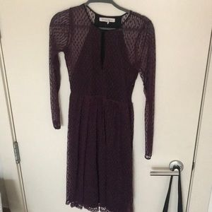 BCBG dark purple lace midi dress. Size 0